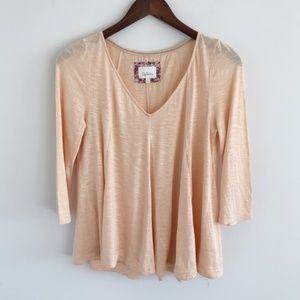 Anthro Deletta Godet Peach Swing Top Size Med